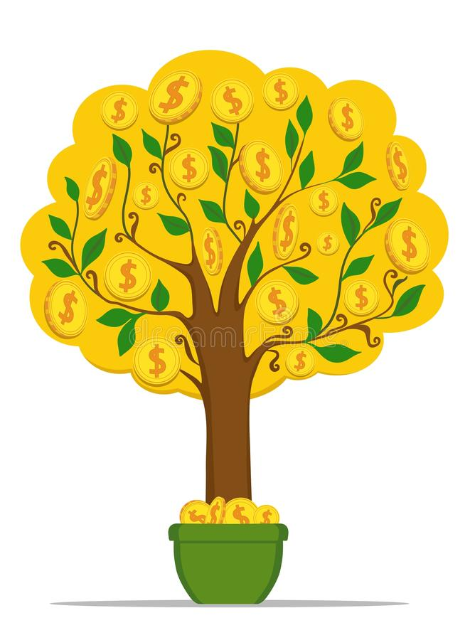 Money tree with gold coins dollars. Vector illustration. royalty free illustration