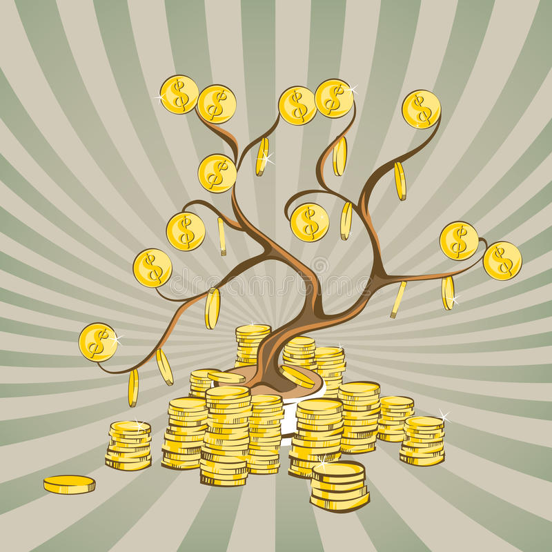 Money tree with golden coins. Gold dollars on wood branches and stacks around. Vintage rays background. Cartoon style, vector illu. Stration vector illustration