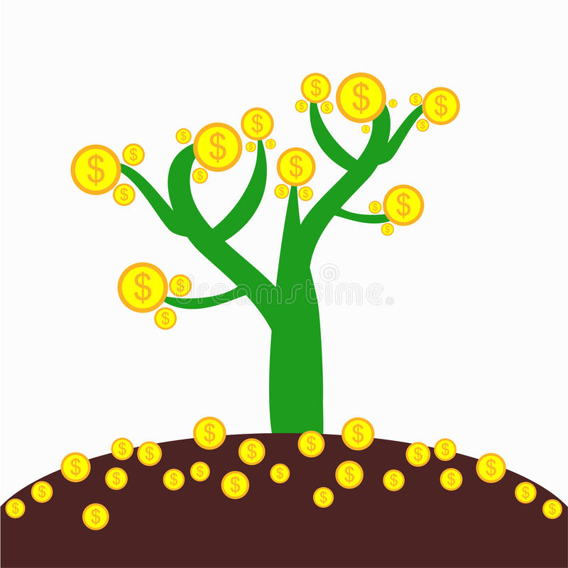 Money tree with ground. And money inside stock illustration