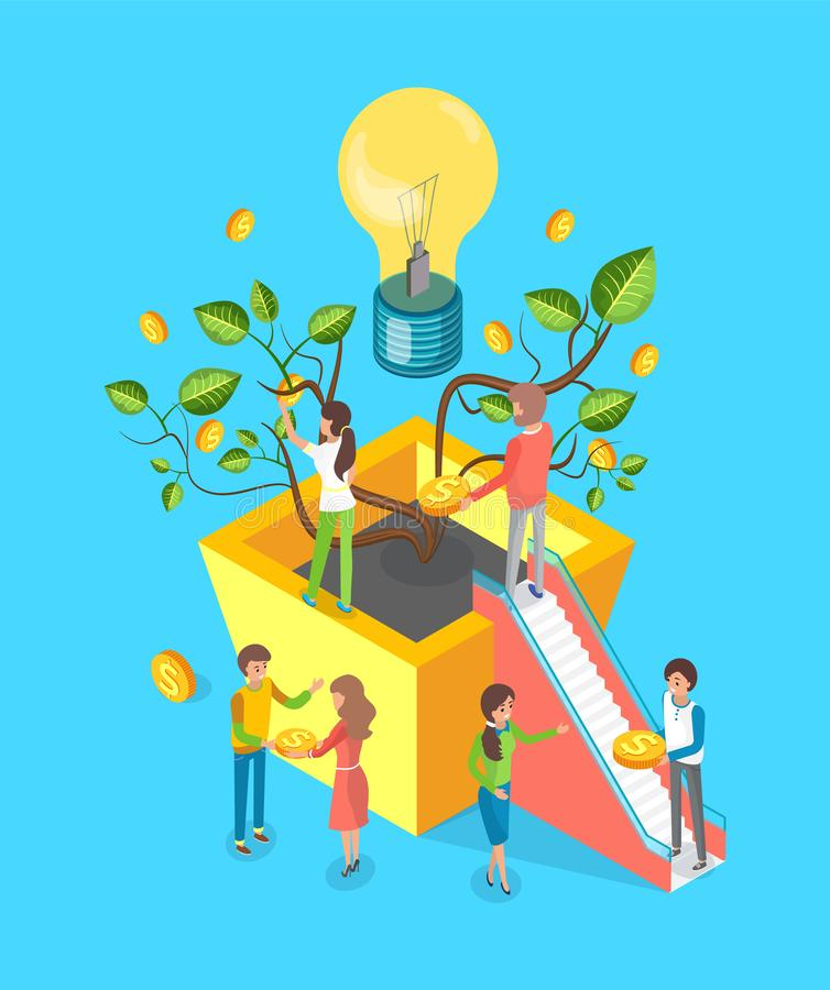 Money Tree and Lightbulb, People Making Deal Crowd vector illustration