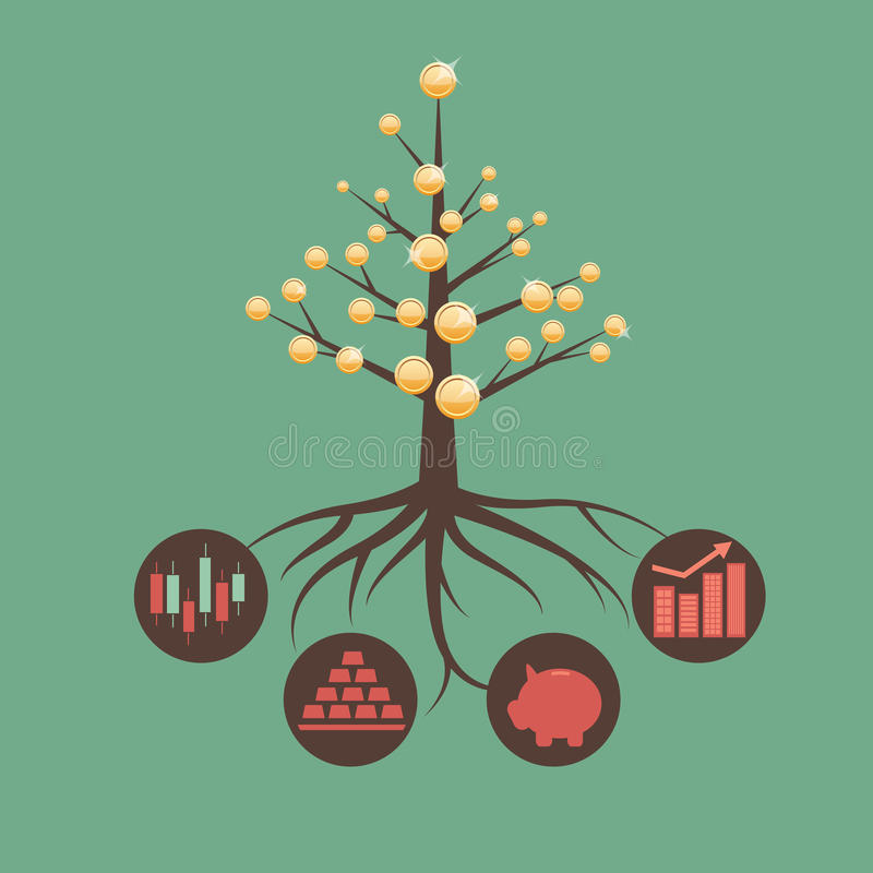 Money-tree. Metaphor of investment and asset management stock illustration