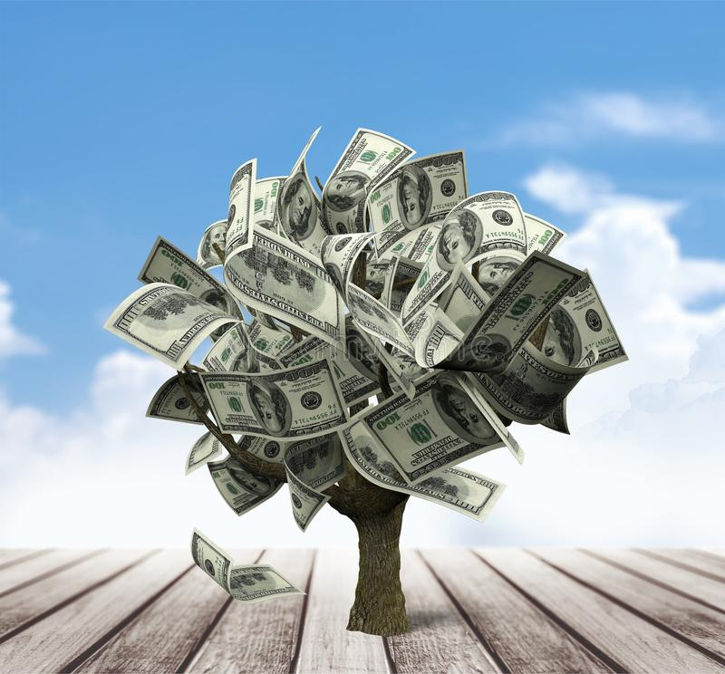 Money tree. Currency growth savings tree finance investment royalty free stock images
