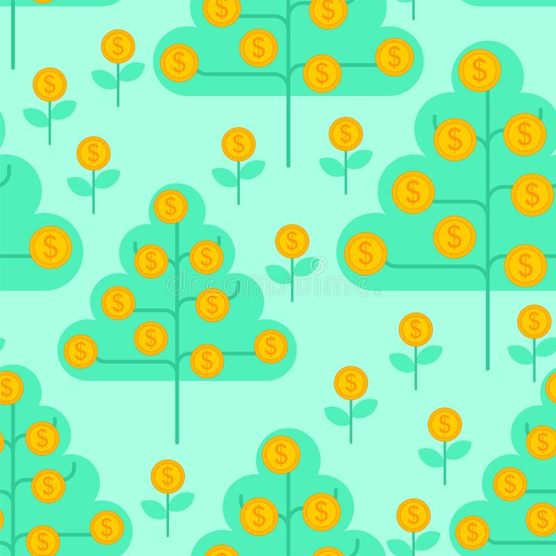 Money tree pattern seamless. Dollar sprout background. Grow wealth. Coin Forest texture stock illustration
