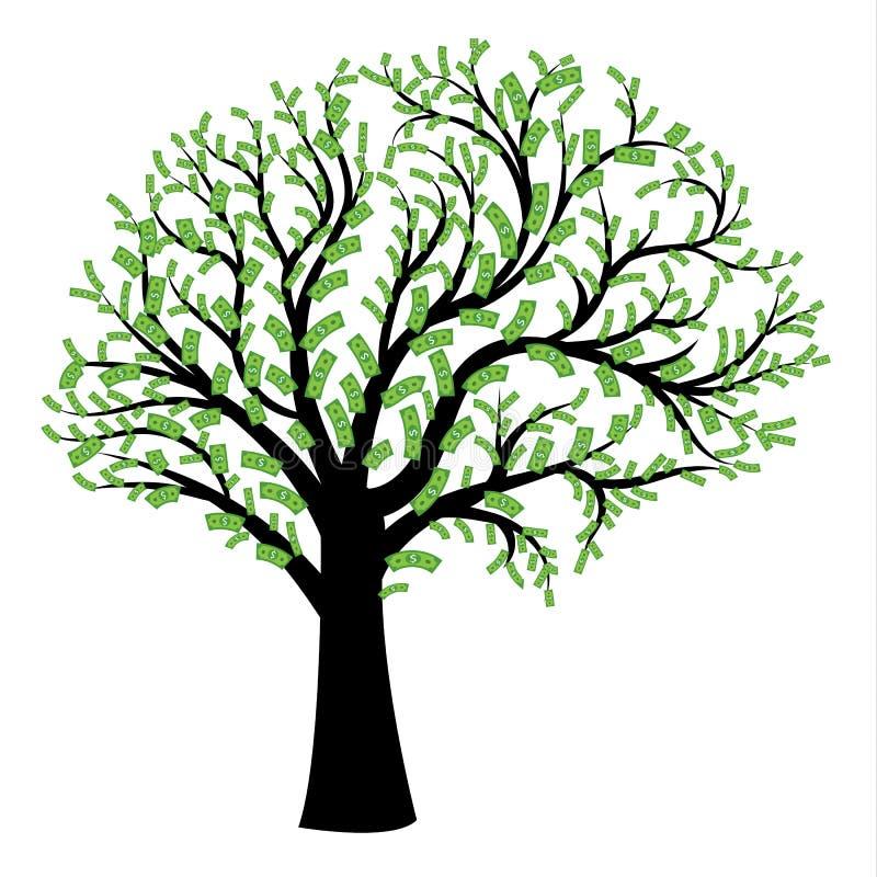 Money tree in shape of human brain stock illustration