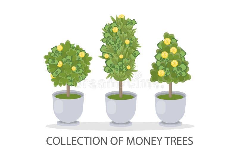 Money trees set. vector illustration