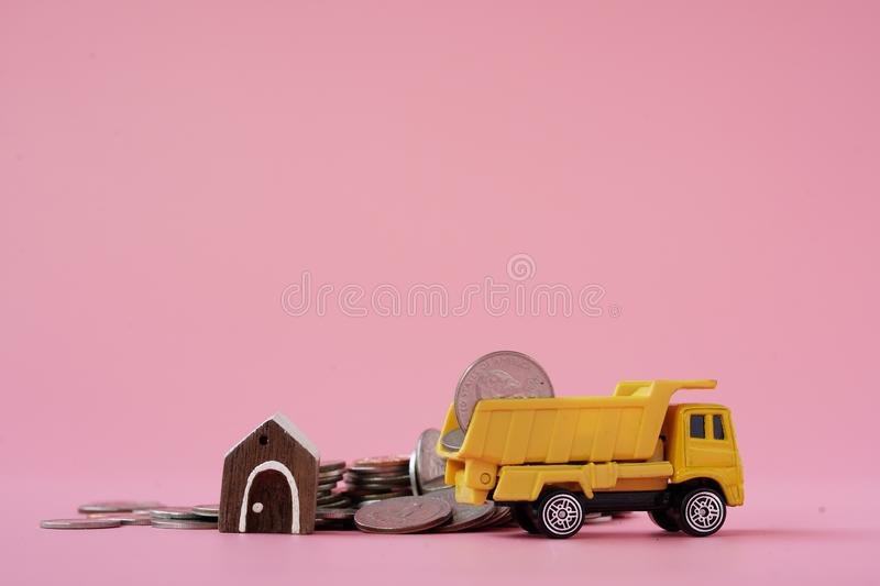 Money truck for  purchasing home royalty free stock photography