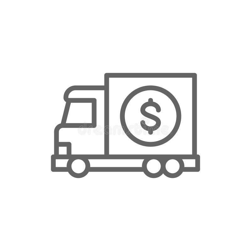 Money truck, transfer cash, banking car line icon. royalty free illustration