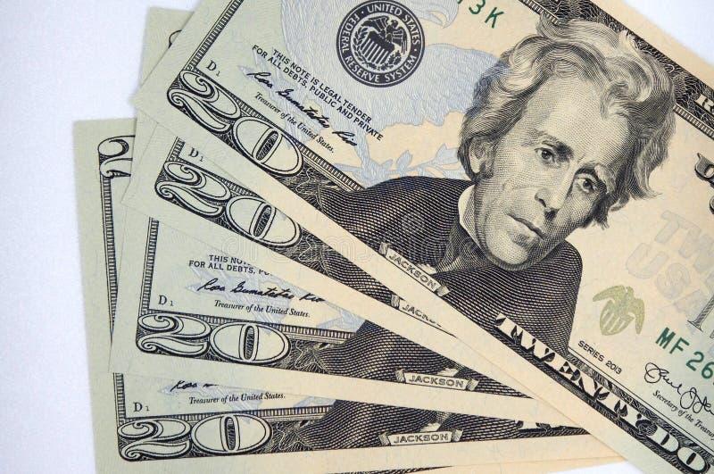 Money, twenty dollar banknotes on a white background stock images