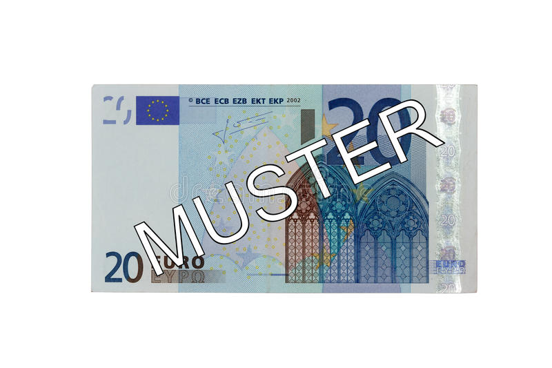 Money - Twenty (20) Euro bill front with German lettering Muster (specimen) stock images