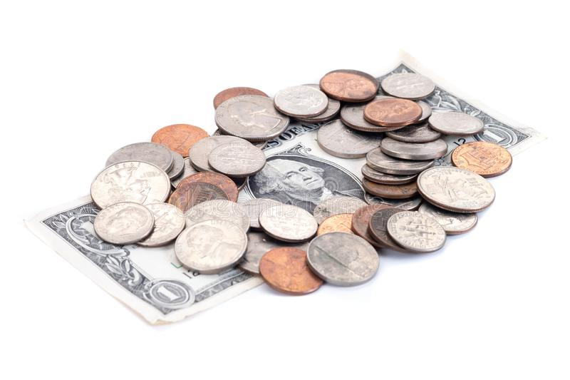 Money, US Dollars bank notes, penny, nickel, dime, quarter on a white background.  stock images