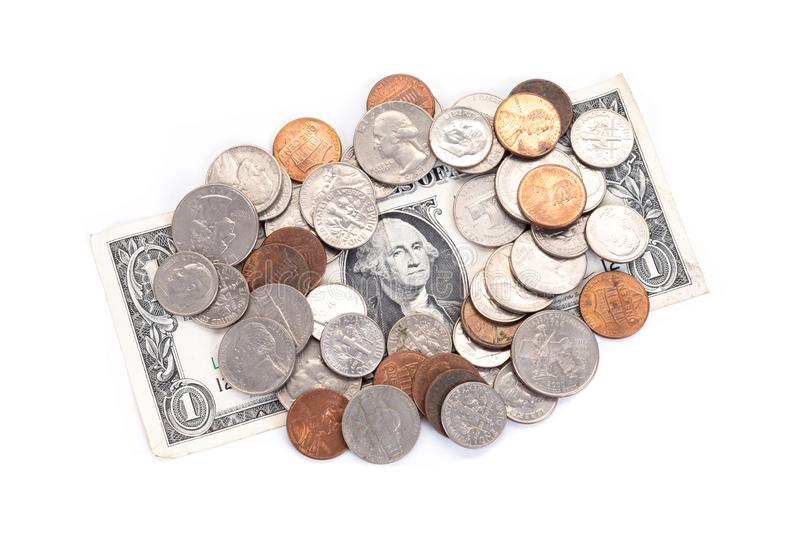 Money, US Dollars bank notes, penny, nickel, dime, quarter on a white background.  stock photography
