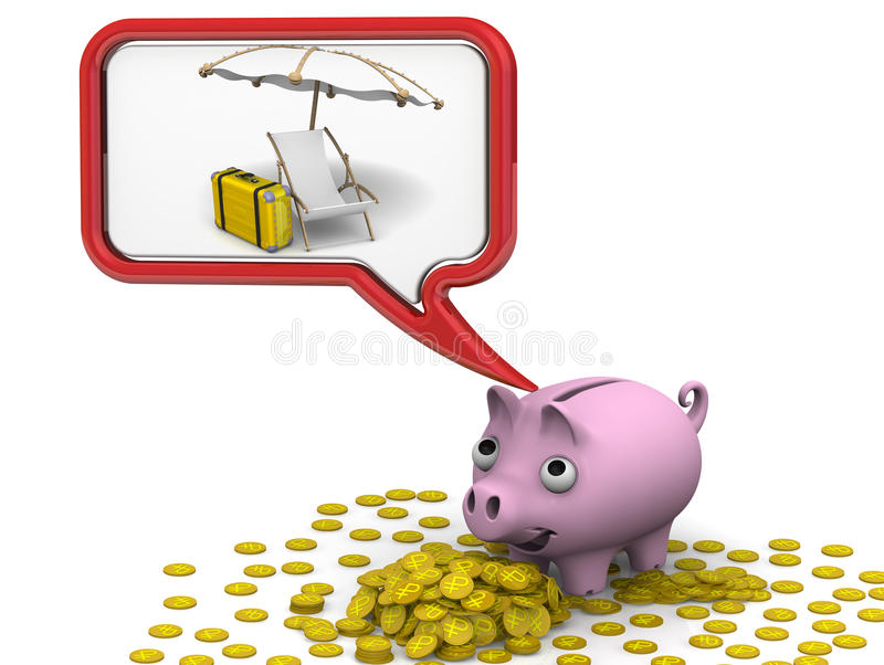 Money for the vacation. Pig piggy bank dreaming about vacation. . 3D Illustration royalty free illustration