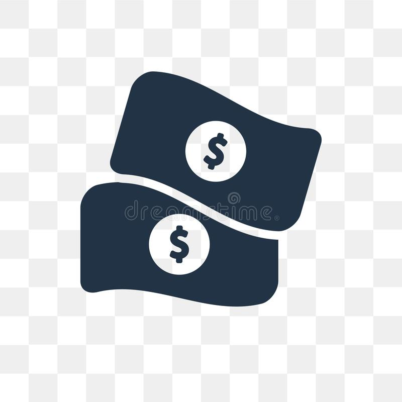Money vector icon isolated on transparent background, Money tra stock images