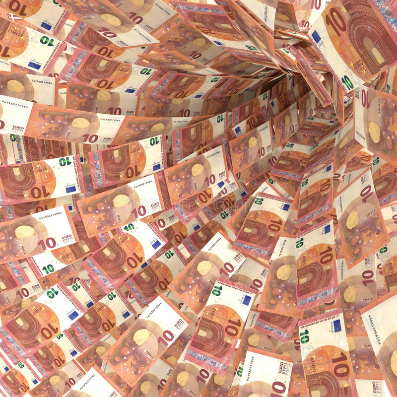 Money vortex of 10 euro bills stock image