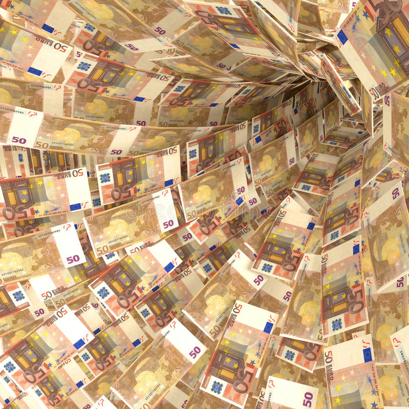 Money vortex of 50 euro notes royalty free stock photo