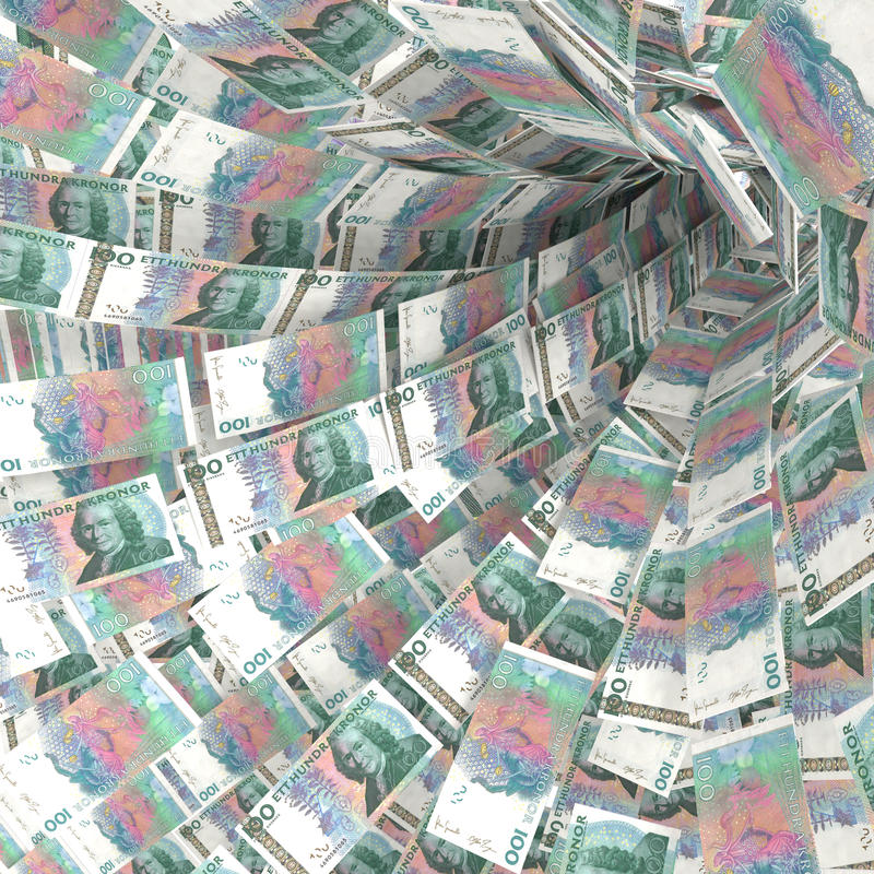 Money vortex of 100 swedish kronor bills stock image