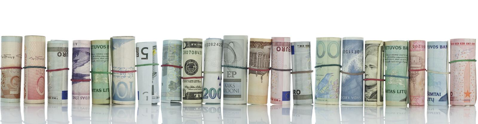 Money wall, money border. With reflections isolated on white royalty free stock images