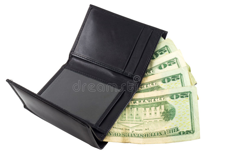 Money in Wallet. US dollar money in wallet, isolated in white background