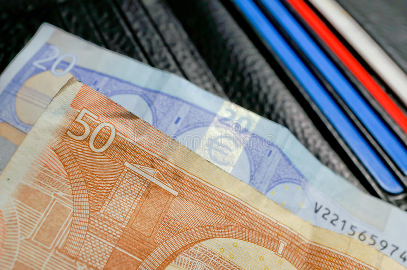 Download Money on wallet with cards stock photo. Image of tender - 22103892
