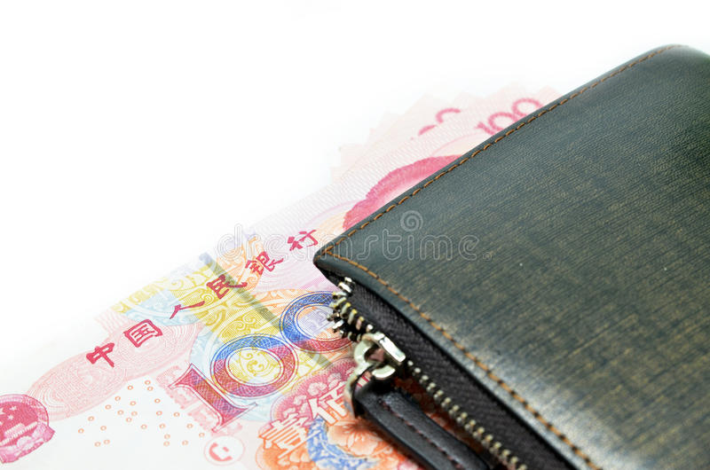 Money in wallet. China RMB curreny, financial concept stock image