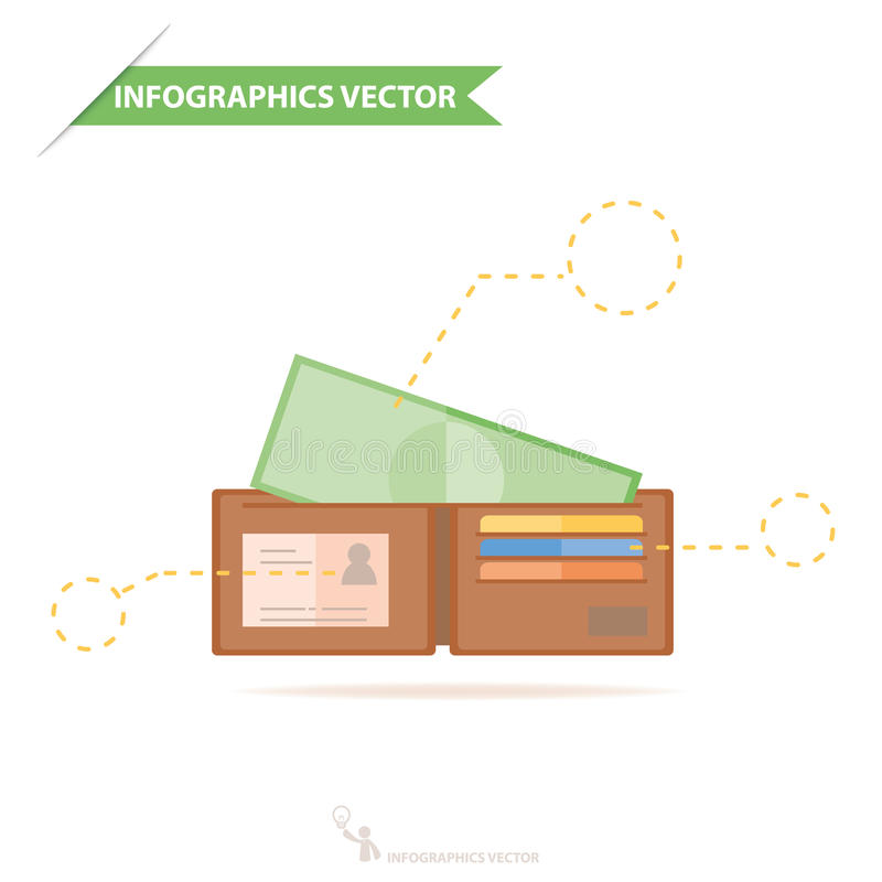 Money in wallet. Flat vector design for business and finance infographics stock illustration