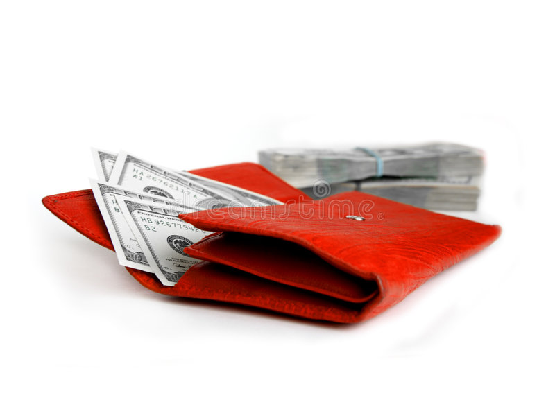Download Money Wallet Red, Happy Shopping Stock Photography - Image: 7143462