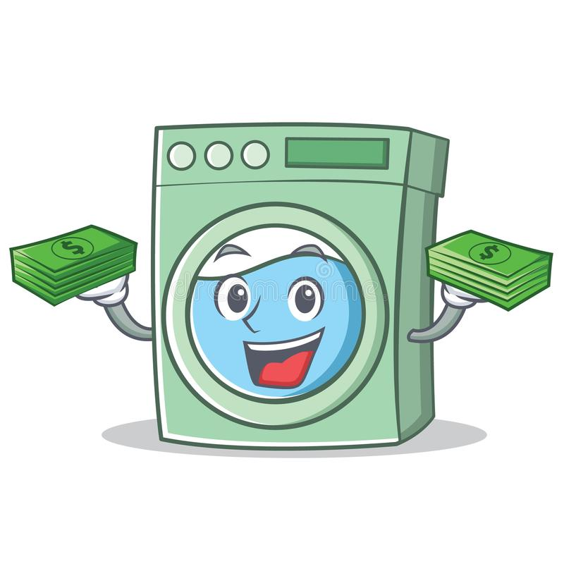 Cartoon Washing Machine ~ With money washing machine character cartoon stock vector