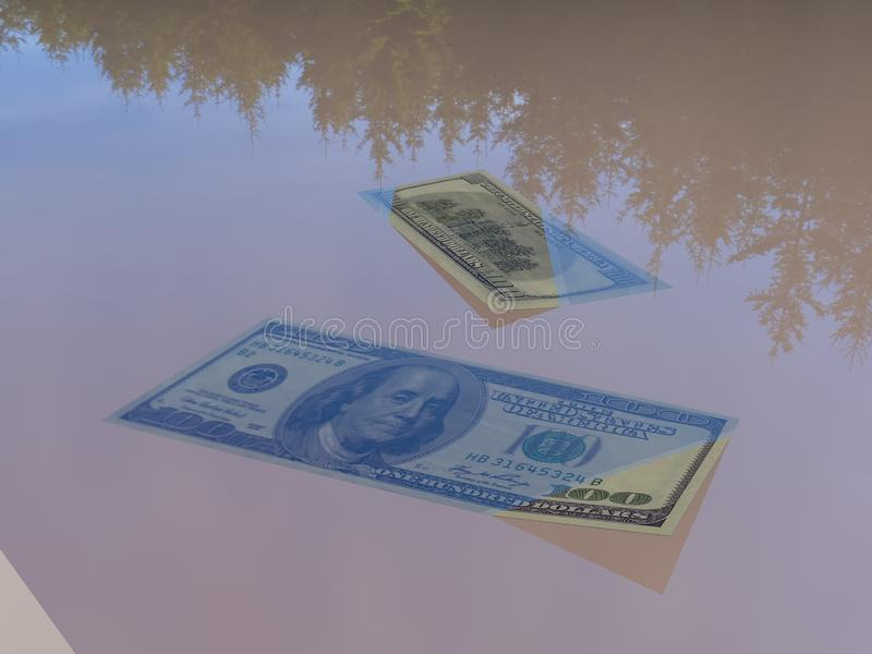 Money in the water 3d rendering. 3d rendering. Drowning dollar. Dollar sinking. Scattered money. Money in the water. The collapse of the foreign exchange market vector illustration