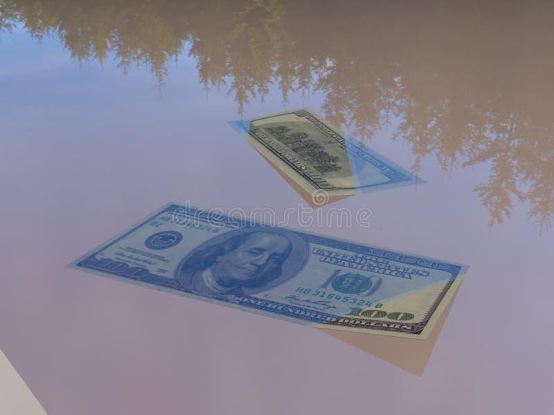 Money in the water 3d rendering vector illustration