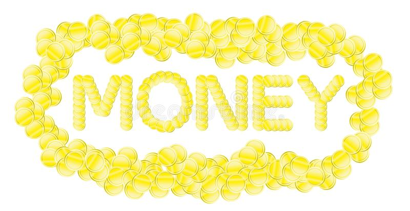 Money on a white background. The word money coins on white background royalty free illustration