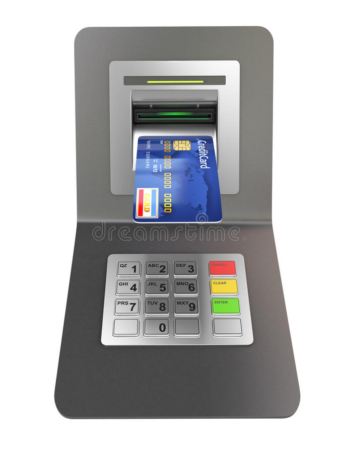 Money withdrawal. ATM and credit or debit card stock illustration
