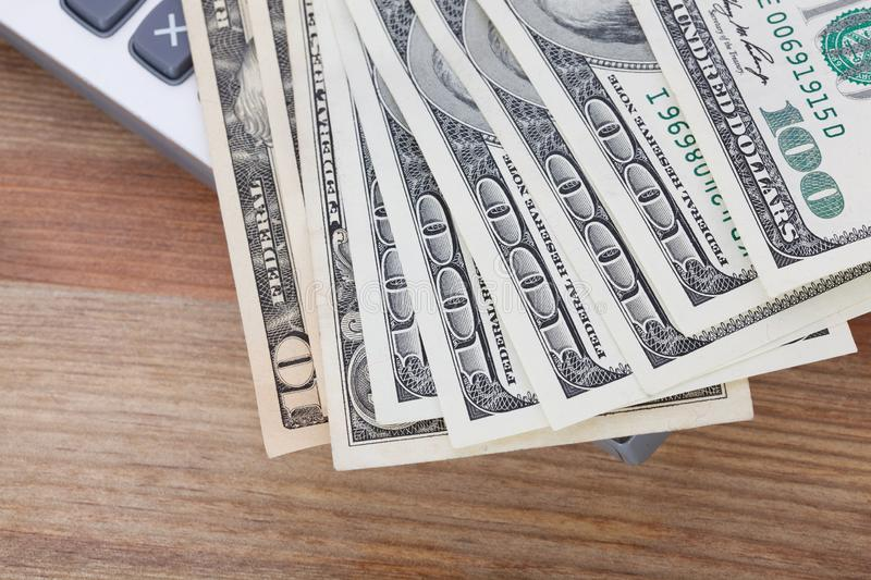 Money on wooden table background. stock image