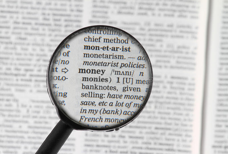 Money word in dictionary royalty free stock images