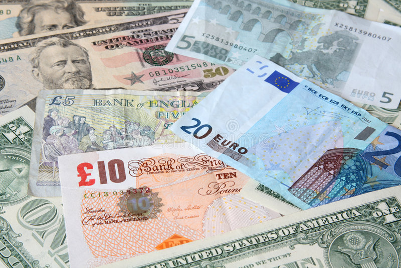 Money. World currencies stock photo