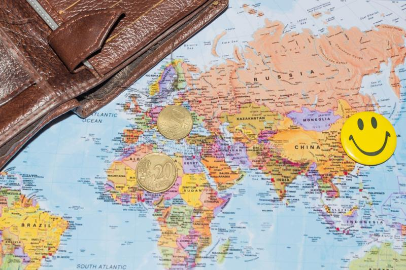 Money on the world map. Money and wallet on the world map, concept, business, europe, currency, background, finance, international, economy, loss, africa stock image