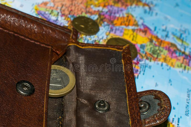 Money on the world map 4. Money and wallet on the world map, concept, business, europe, currency, background, finance, international, economy, loss, africa stock image