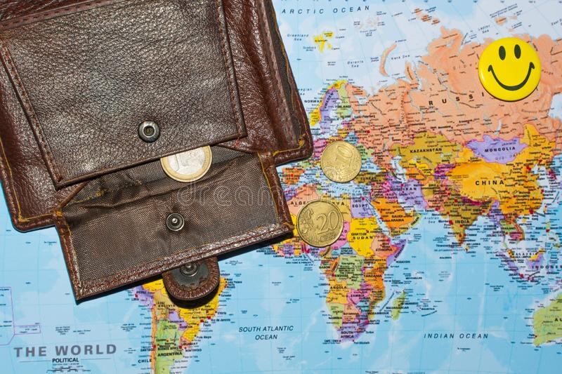 Money on the world map 3. Money and wallet on the world map, concept, business, europe, currency, background, finance, international, economy, loss, africa royalty free stock photography