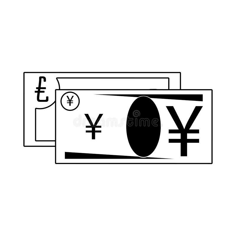 Money yen and euro cash billets stock illustration