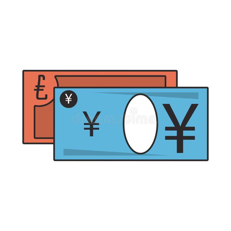 Money yen and euro cash billets royalty free illustration