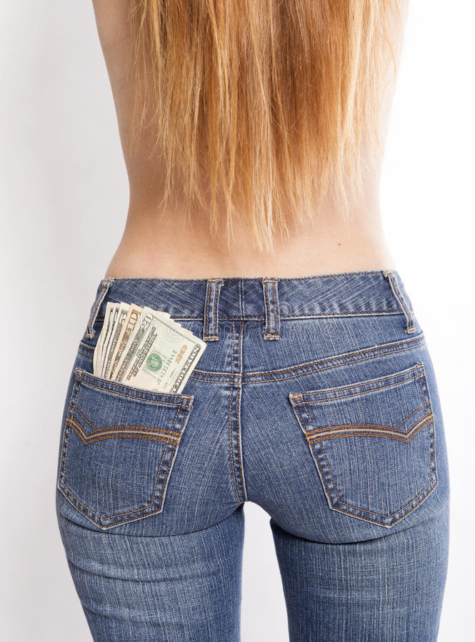 Money in your pockets stock photo