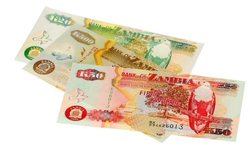 Money of Zambia. The pile of money of Zambia is isolated on a white background royalty free stock image