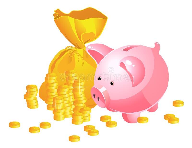 moneybag банка piggy иллюстрация вектора