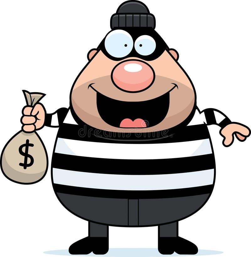Moneybag взломщика шаржа иллюстрация штока