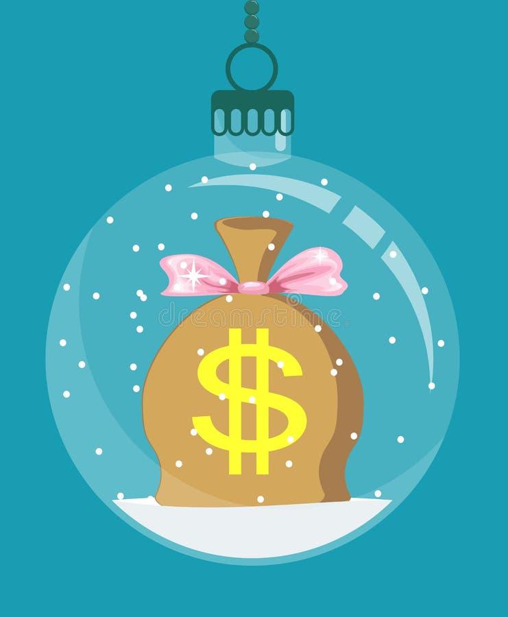 Moneybag внутри украшения рождества бесплатная иллюстрация