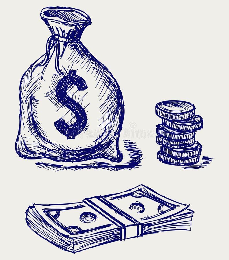 Moneybag и монетка бесплатная иллюстрация