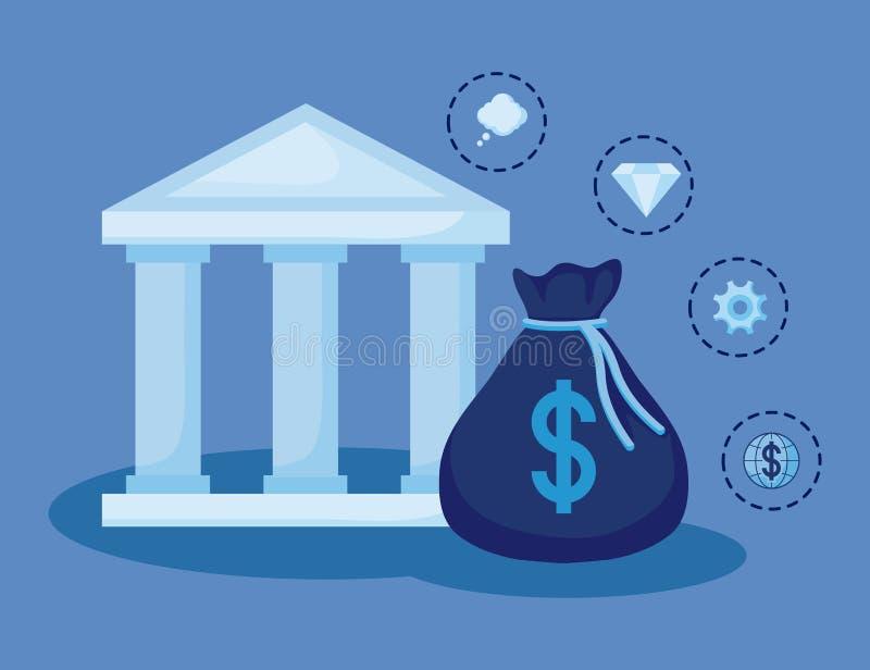 Moneybag с установленными финансами экономики значков бесплатная иллюстрация
