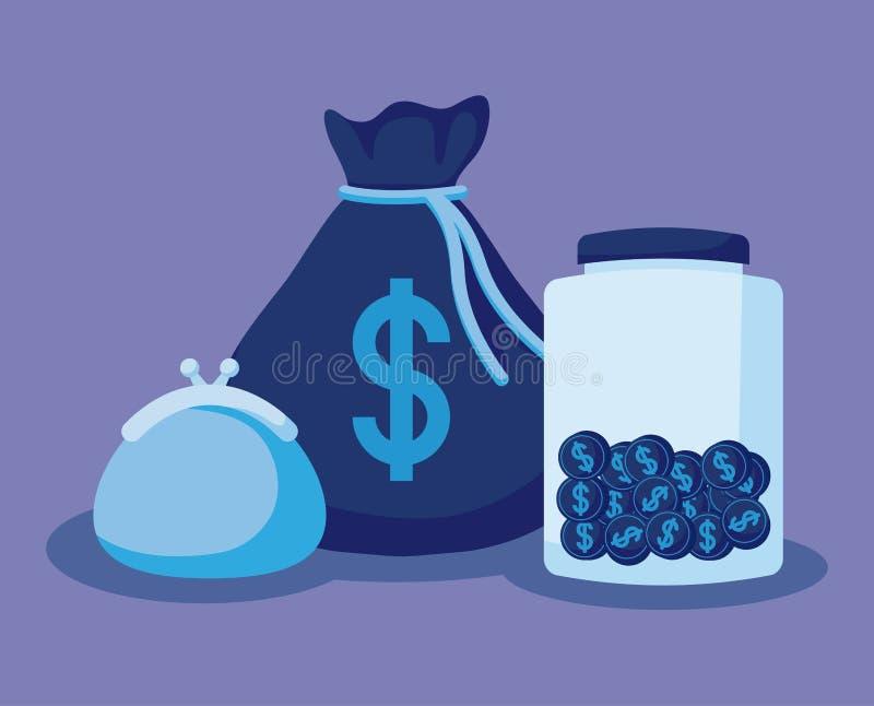 Moneybag с установленными финансами экономики значков иллюстрация вектора
