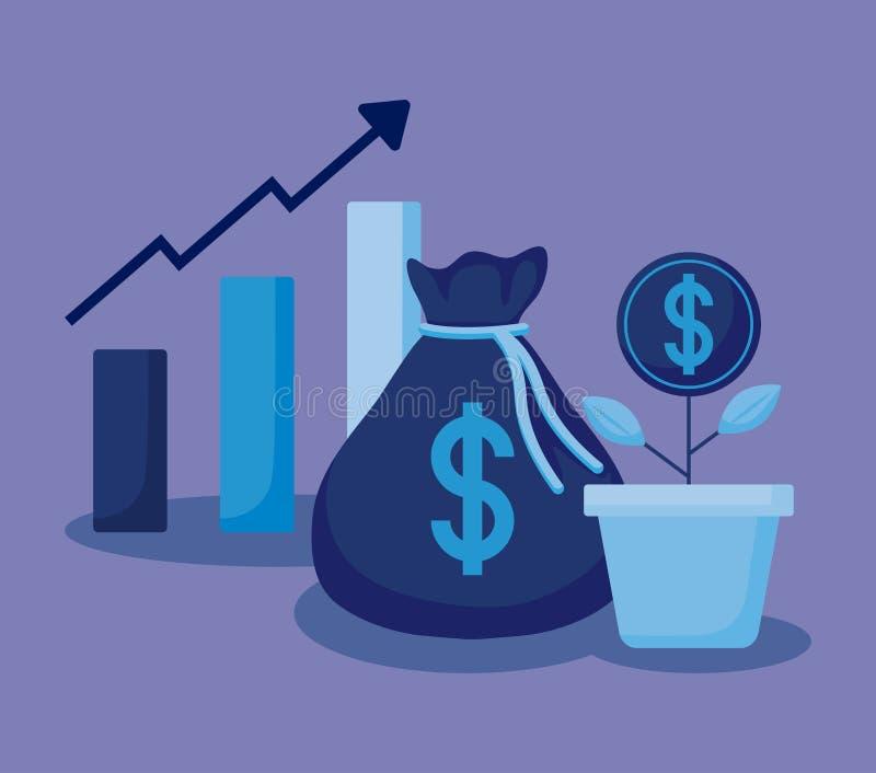 Moneybag с установленными финансами экономики значков иллюстрация штока