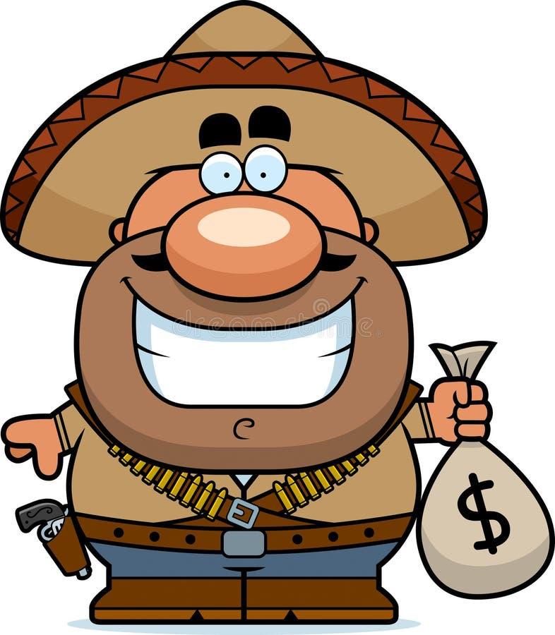 Moneybag Bandito шаржа иллюстрация вектора