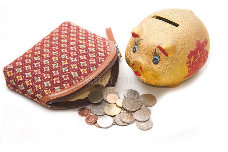 Moneybag en spaarvarken stock fotografie